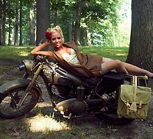 Dawn on a Matchless motorcycle by LibertyCalendar