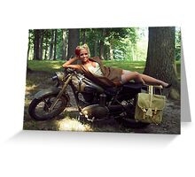 Dawn on a Matchless motorcycle Greeting Card