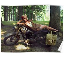 Dawn on a Matchless motorcycle Poster