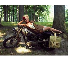 Dawn on a Matchless motorcycle Photographic Print