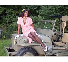 Violet on a Jeep Photographic Print