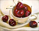Still Life in Red and White...Cherries.. by  Janis Zroback
