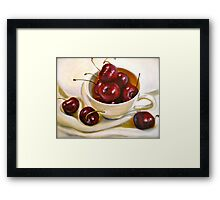 Still Life in Red and White...Cherries.. Framed Print