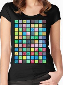 Black Grid Canvas Women's Fitted Scoop T-Shirt