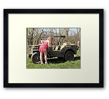 Cassie and 1944 Willys MB Framed Print