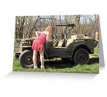 Cassie and 1944 Willys MB Greeting Card
