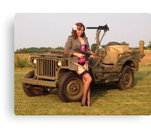 Christine with a 1944 Willys MB Canvas Print
