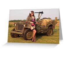Christine with a 1944 Willys MB Greeting Card