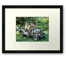 Violet on a Jeep, Tuskegee Airman Framed Print
