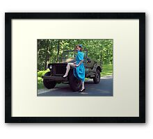 Dori Jean with a 1941 Willys MB Framed Print