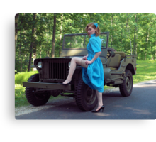 Dori Jean with a 1941 Willys MB Canvas Print