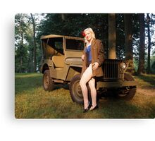 Andie with a 1941 Willys MB Canvas Print