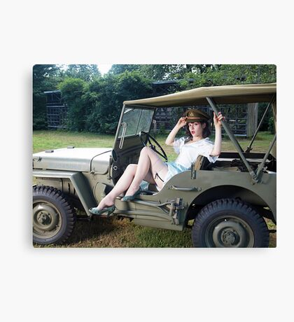 Tesla Tease in a WWII Willys MB Canvas Print