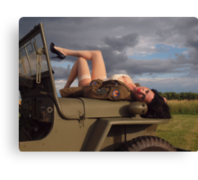 Ivette on a 1944 Willys MB Canvas Print