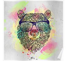 Cool watercolor bear with glasses design Poster