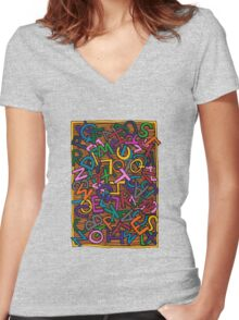 Alphabet Women's Fitted V-Neck T-Shirt