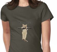 hang in there baby cute kitty cat kitten on branch  Womens Fitted T-Shirt