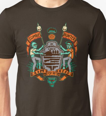 Zombie Hunters Coat of Arms (BROWN) Unisex T-Shirt