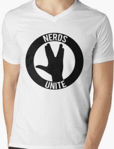 NERDS UNITE - VULCAN SALUTE Mens V-Neck T-Shirt