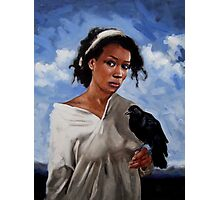 A Woman with Crow Photographic Print