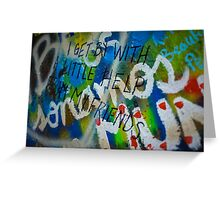 "John Lennon Wall- ""I Get By With A Little Help From My Friends"" Greeting Card"