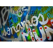 """John Lennon Wall- """"I Get By With A Little Help From My Friends"""" Photographic Print"""