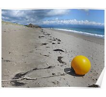 Yellow buoy on the tide line at Pwllheli ( Landscape) Poster