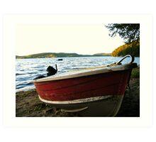 Boat at Lac La Blanche, Quebec Art Print