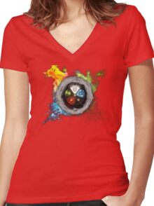 Magic the Gathering: Elemental  Battle Women's Fitted V-Neck T-Shirt