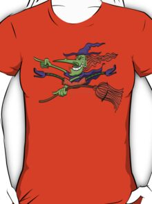 Crazy Witch Riding her Broomstick T-Shirt
