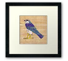 Horus in faience on papyrus Framed Print