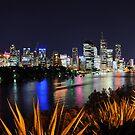 Brisbane River & City By Night. Queensland, Australia.  by Ralph de Zilva