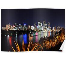 Brisbane River & City By Night. Queensland, Australia.  Poster