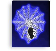Spooky spider and web, watercolor Canvas Print