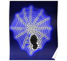 Spooky spider and web, watercolor Poster