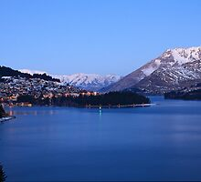 Twinkling lights of Queenstown in winter by Cameron B