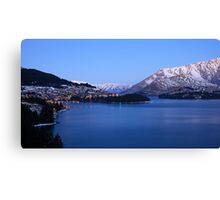 Twinkling lights of Queenstown in winter Canvas Print
