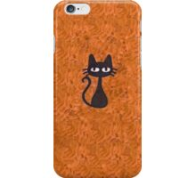Black Cat with Orange Background iPhone Case/Skin