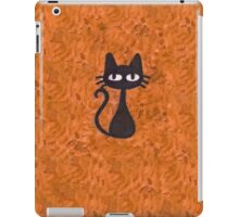Black Cat with Orange Background iPad Case/Skin