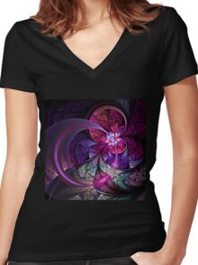 Fly - Abstract Fractal Artwork Women's Fitted V-Neck T-Shirt