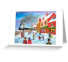 Winter train townscape original oil painting Gordon Bruce art Greeting Card