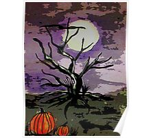 Spooky tree, watercolor Poster