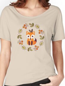 Little Fox with Autumn Berries Women's Relaxed Fit T-Shirt