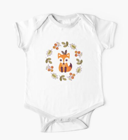 Little Fox with Autumn Berries One Piece - Short Sleeve