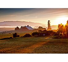Skagit Valley, early morning dew  Photographic Print