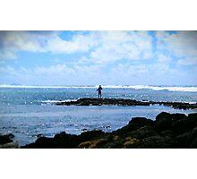 Man Fishing in Sea, Mauritius  Photographic Print