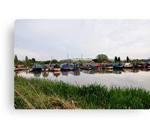 Narrowboats at Barton Marina Canvas Print