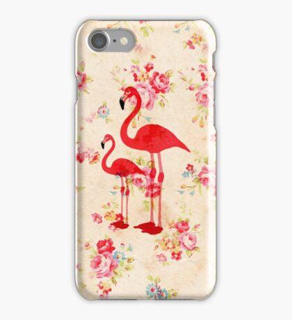 Vintage elegant flamingos red roses floral  iPhone Case/Skin