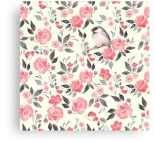 Watercolor floral background with a cute bird 2 Canvas Print