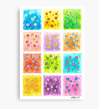 Flower Party - Brush And Gouache Canvas Print